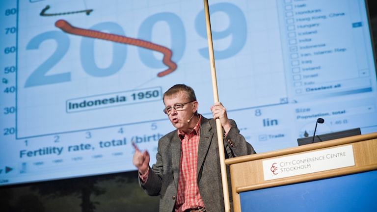 Professor Hans Rosling in front of a chart.
