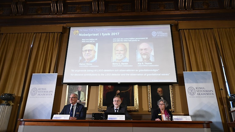 The anouncement of the Nobel Prize in Physics for 2017.