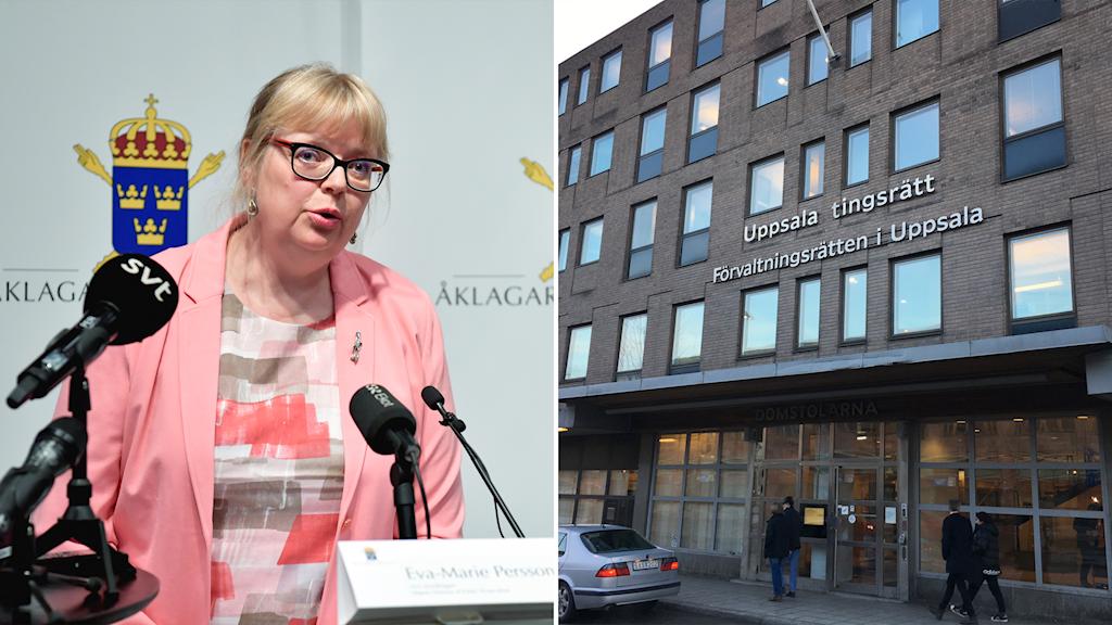Two photos: A woman and a building facade