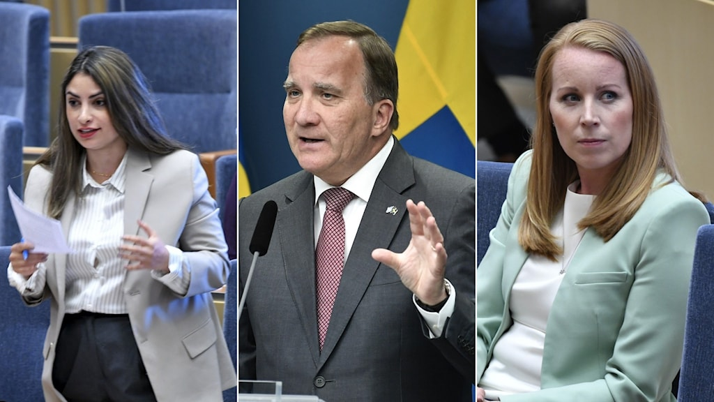 A three-picture-split, showing a woman at a debate, a man giving a press conference, and a woman sitting and listening to a debate.