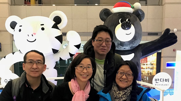 Sung-Za Ödelycke (second from left) and fellow Korean adoptees from Sweden arrived in Seoul on Monday for the Winter Olympics.