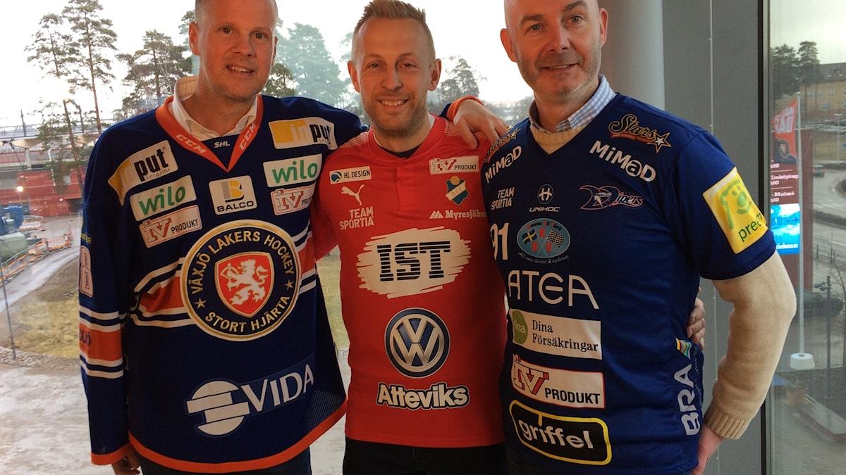 Fredrik Sandberg Växjö Lakers, Andreas Skagerlind Östers IF och Stefan Agneskog Växjö Vipers
