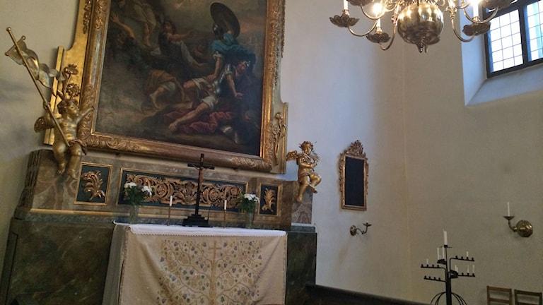Finska kyrkan i Gamla Stan där Maria Fredrika Thelin gifte sig.