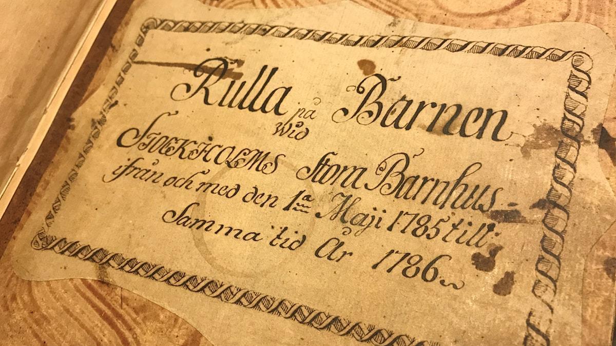 Rulla från Barnhuset i Stockholm1785-1786