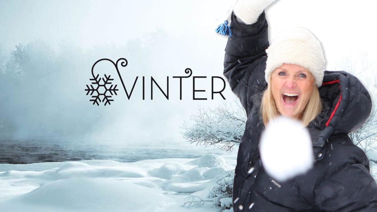 Vinter i P1 med Bibi Rödöö som kastar snöboll.