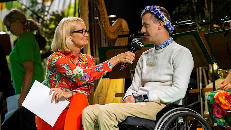 Bibi Rödöö och Jonas Waltelius under pressträffen i Berwaldhallen 13 juni.