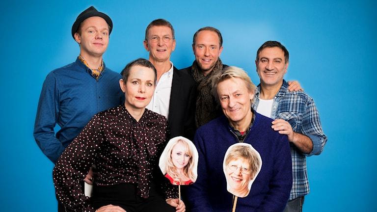 Vintervärdarna Olof Wretling, Tomas Sjödin, Mattias Klum, Mustafa Can, Sara Danius och Lars Lerin. Foto: Mattias Ahlm/Sveriges Radio