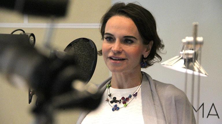 Maria Strømme i Sommarstudion. Foto: Jonas Ekblom/Sveriges Radio