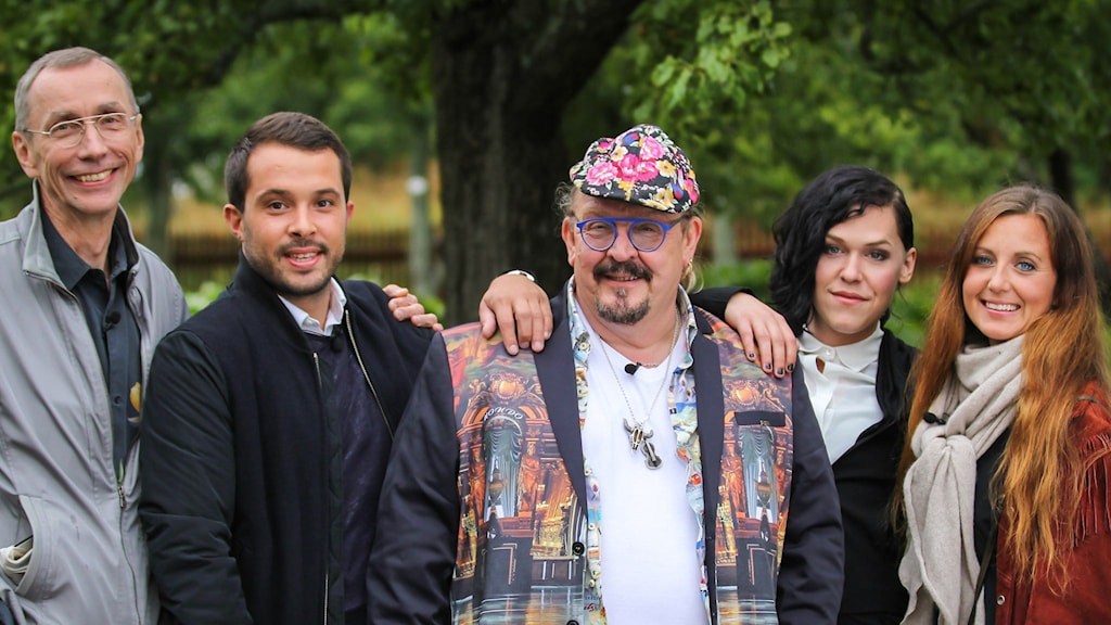 Sommarpratarna 2: Svante Pääbo, Georgios Karpathakis, Olle Jönsson, Saga Becker och Sanna Lundell. Foto: Niklas Lindman /SVT