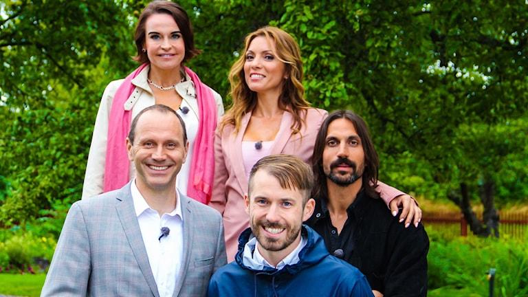 Sommarpratarna 5: Maria Strømme, Alexandra Pascalidou, Jonas Eriksson, Daniel Poohl och Ben Gorham. Foto: Niklas Lindman /SVT