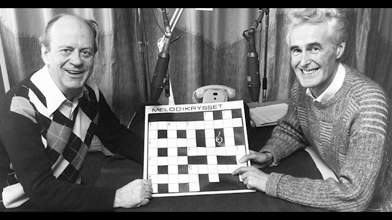 Bengt Haslum, Peter Granberg med  Melodikrysset 1986. Foto: SVT Bildarkiv