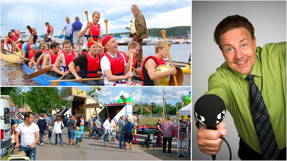 Melodikrysset reser till Väsmans Vattenfestival.. Foto: Ludvika hockey och Sveriges Radio. Montage Sveriges Radio,