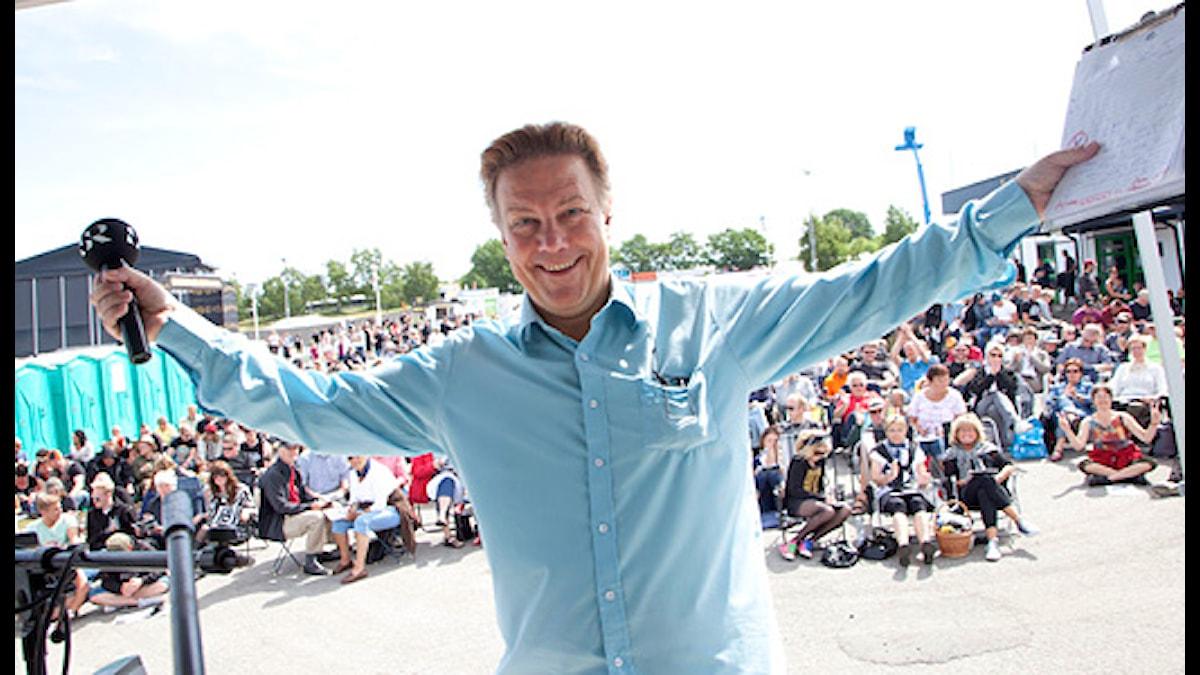 Anders Eldeman älskar Sweden Rock och Sweden Rock älskar Anders Eldeman. Foto: Stina Gullander/Sveriges Radio.