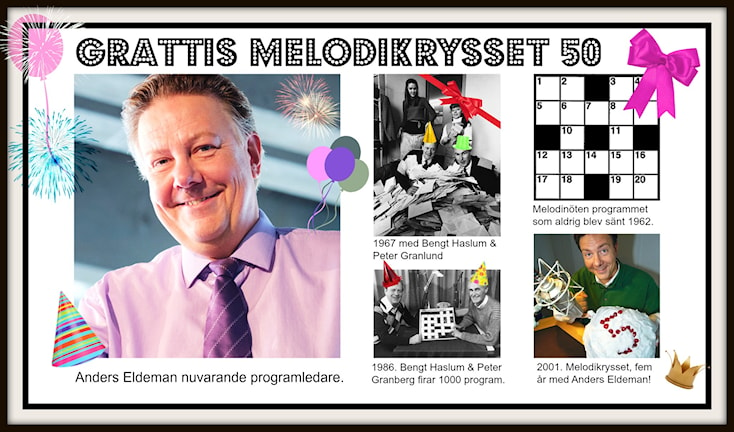 Grattis Melodikrysset 50 år! Foto: SVT Bild och Sveriges Radio.