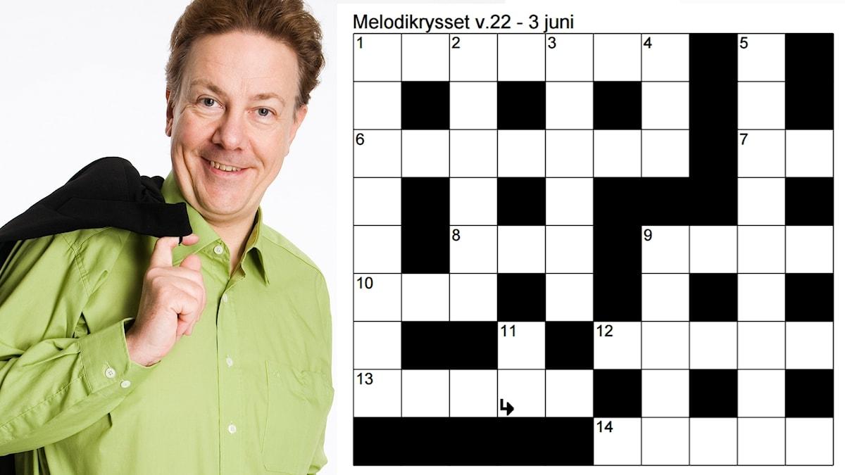 Bild på Anders Eldeman i grön skjorta och en kavaj över ena axeln samt kryssplanen för Melodikrysset vecka 22 - 3 juni.