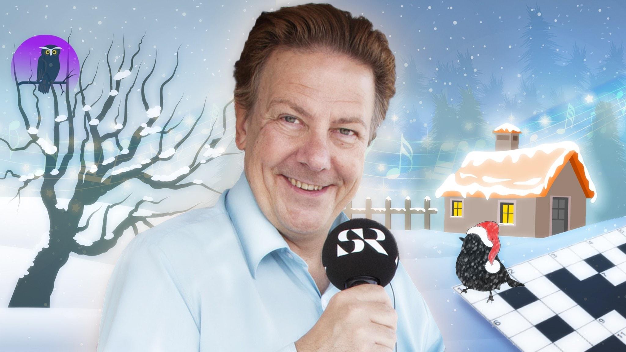 Anders Eldeman i ett tecknat vinterlandskap med en liten stuga i bakgrunden. Till höger sitter en liten fågel med tomteluva på ett melodikryss.
