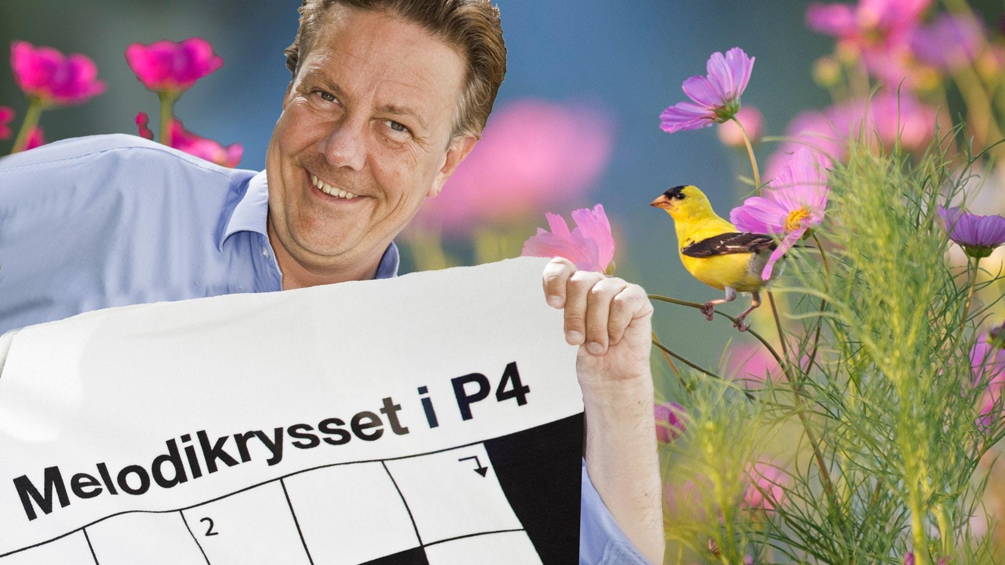 Anders Eldeman med Melodikryssets förstapris - ett badlakan. Foto Olivia Mariette Borg Sveriges Radio
