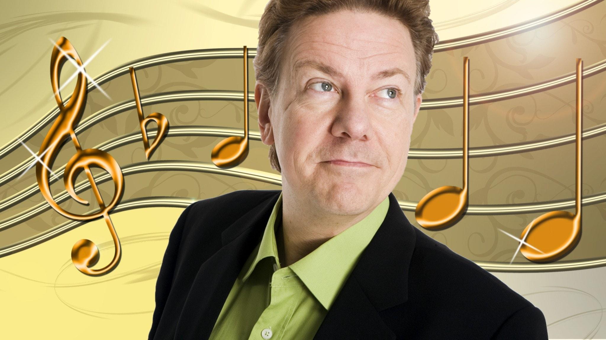 Programledaren Anders Eldeman i förgrunden och noter i glada färger i bakgrunden.
