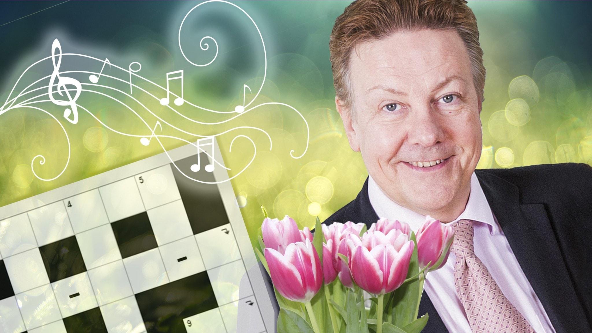 Melodikryssets programledare Anders Eldeman mot grön bakgrund och med rosa tulpaner