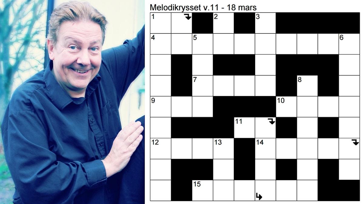 Anders Eldeman och kryssplanen för Melodikrysset vecka 11 - 18 mars.