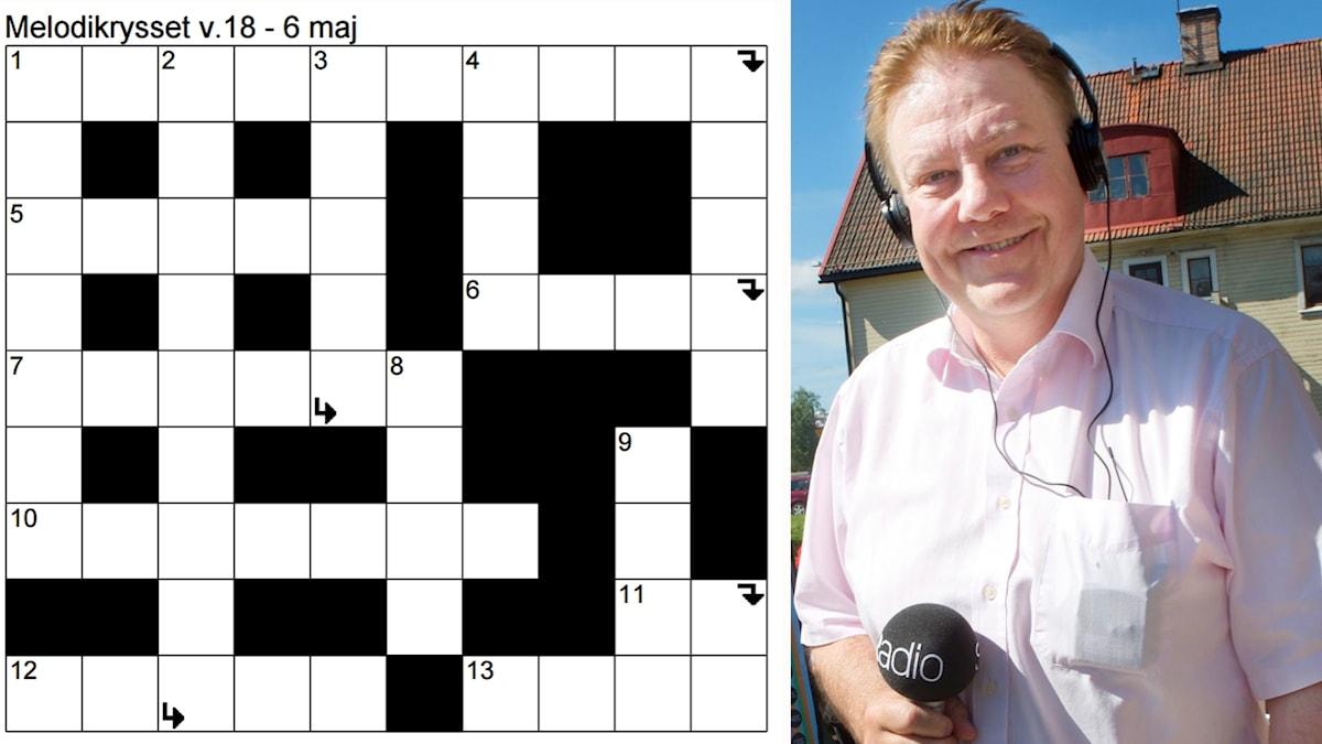 Bildkollage: Till vänster kryssplanen för Melodikrysset vecka 18 - 6 maj och till höger en glad Anders Eldeman i solsken och med Sveriges Radio-mikrofonen i handen.