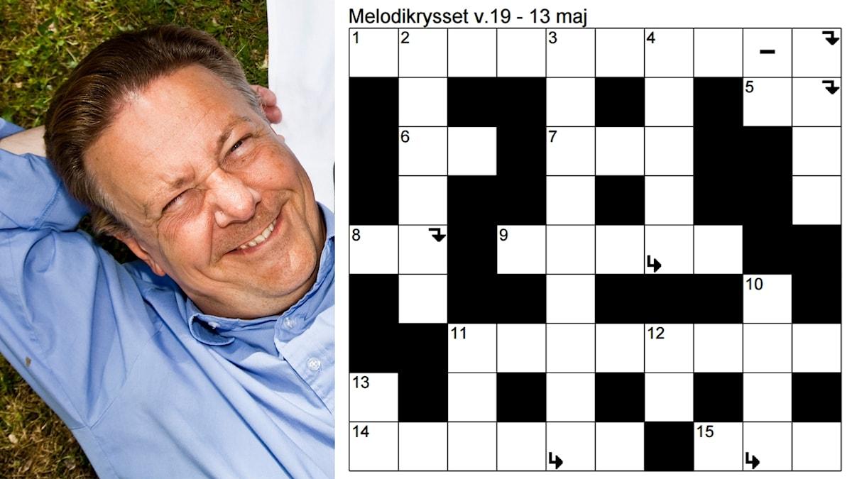 Bildkollage: Kryssplan för Melodikrysset vecka 19 - 13 maj samt en bild på Anders Eldeman som solar sig.
