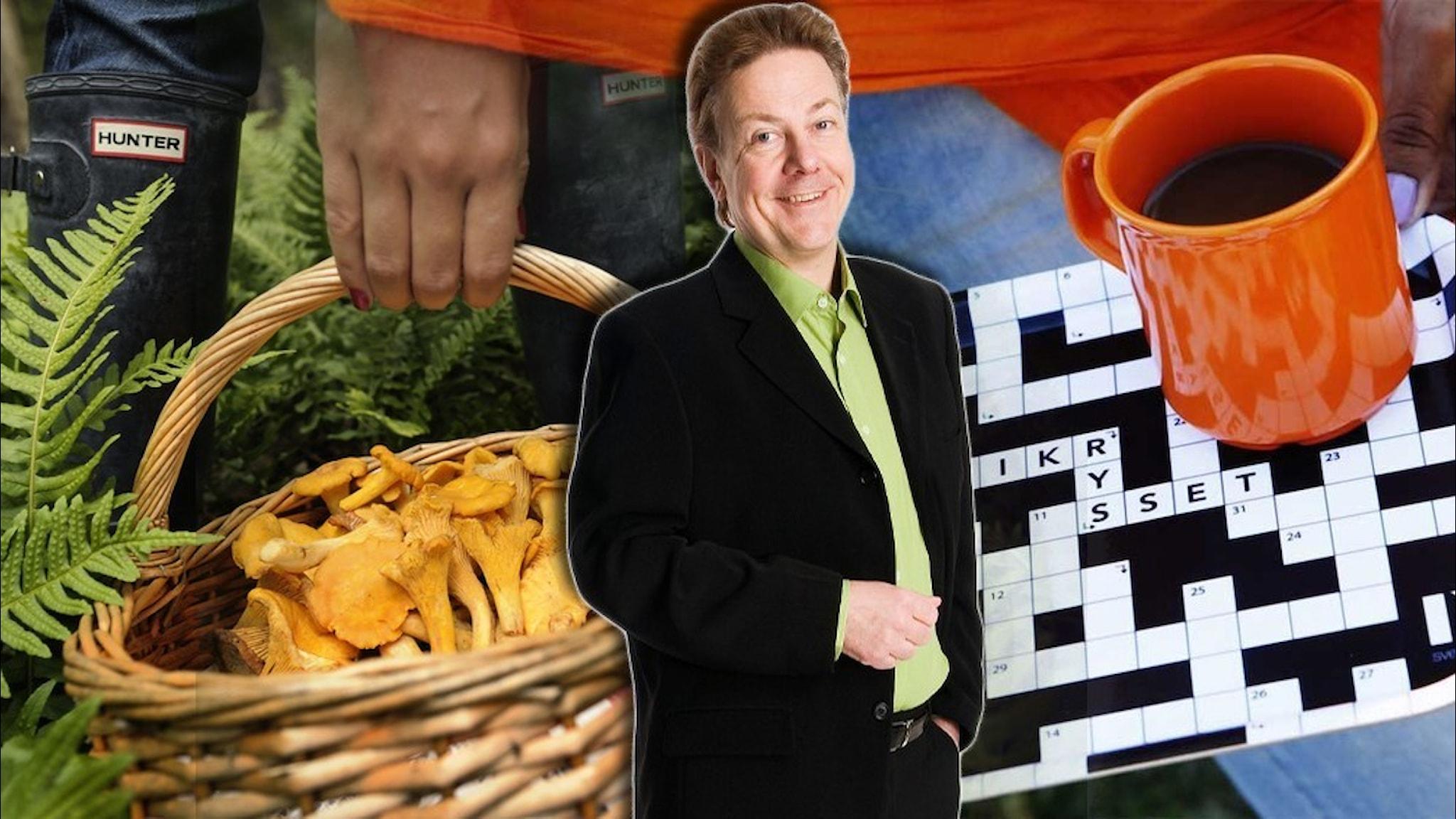 En svampkorg fylld med kantareller och en bricka med korsordsmönster samt en kaffekopp på. Infälld i bilden är programledare Anders Eldeman.