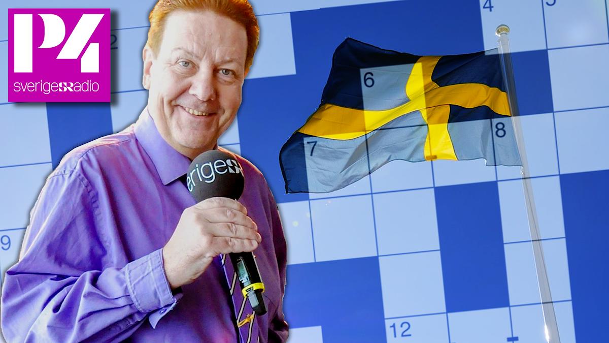 Anders Eldeman framför svensk flagga