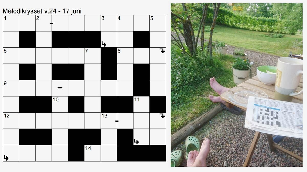 Kryssplan för Melodikrysset vecka 24 - 17 juni till vänster. Till höger ett foto med motivet bara fötter utomhus i gräset, en kryssplan och kaffemuggar.