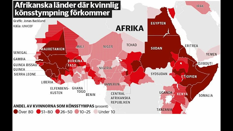 Percent of girls and women subjected to genital mutilation, Graphic: DN