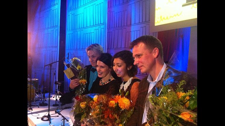 Слева направо: Ларс Лерин, Кристина Андерссон, Матильда Виллегас-Бенгтссон (малый Август для гимназистов), Якоб Вегелиус. Фото: РШ