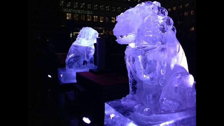 Ледяные скульптуры в Стокгольме