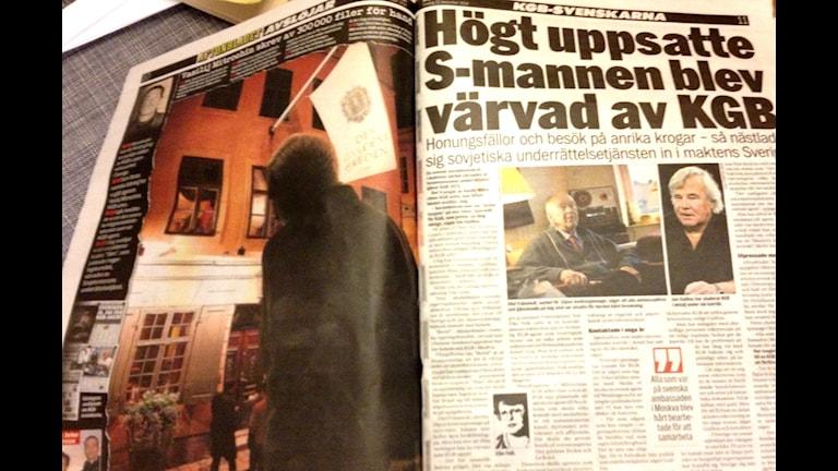 Газета Афтонбладет - об агентах КГБ в Швеции. Фото: Максим Лапицкий/SR