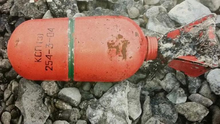 Российские сигнальные патроны выброшенные на шведские берега. Фото: Полиция