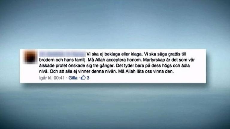 Запись в Фейсбуке в поддержку погибших в Ираке за ИГ. Фото: SVT Tvärnytt