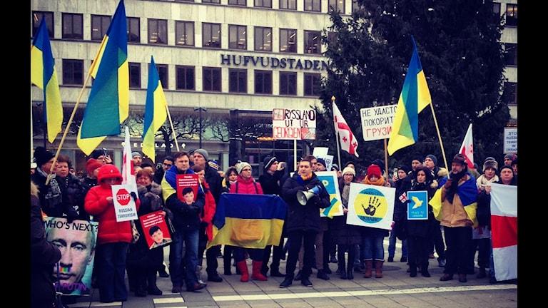Демонстрация против агрессии России в Украине. Стокгольм площадь Нормальмсторг. Фото: Максим Лапицкий