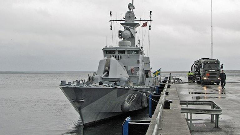 HMS Malmö vid kaj. Foto: Lasse Agnell/Sveriges Radio
