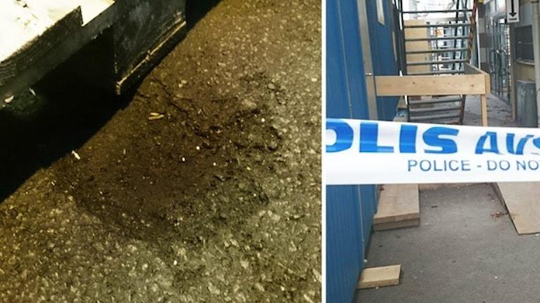 Воронка от гранаты у шведского приюта беженцев в Кальмаре. Фото: Nick Näslund/Sveriges Radio