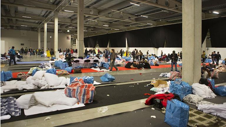Случайный приют беженцев в Мальмё. Фото: Drago Prvulovic/TT