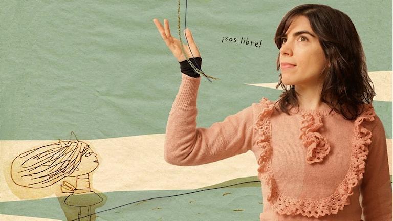 Konstnären Isol står framför en grön-gul tecknad bakgrund, lyfter en arm och släpper iväg en tecknad ballong. En tecknad flicka tittar på. Grafik: Marisol Misenta.