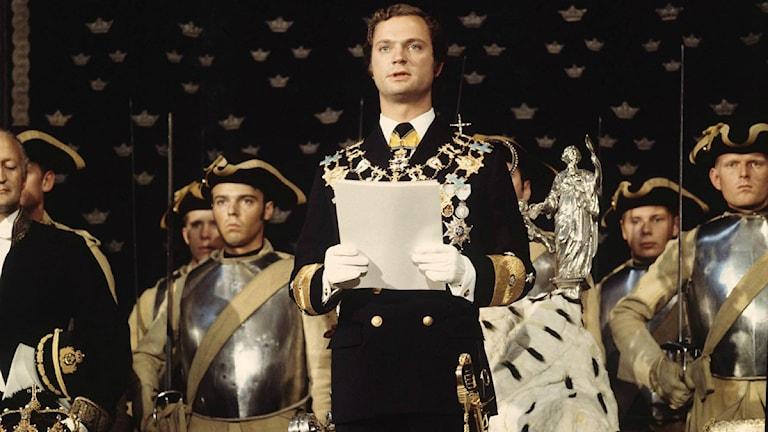 Am 19. September 1973 fand in Stockholm die Zeremonie statt, die Carl XVI. Gustaf zum schwedischen Staatsoberhaupt und König machte. (Foto: Jan Collsiöö / PRESSENS BILD)