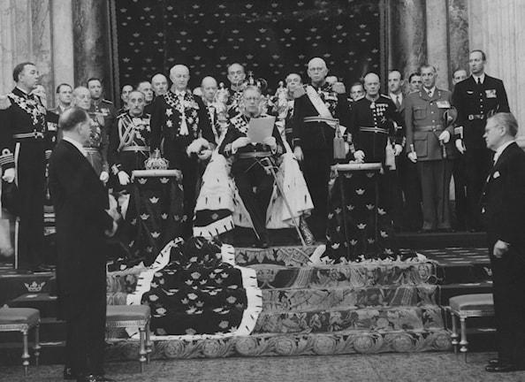 1956 verlas der neue schwedische König Gustaf VI. Adolf seine Thronrede. (Foto: Scanpix Schweden)