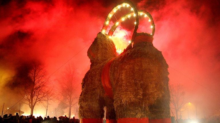 Gävlen olkipukki paloi maan tasalle tuttuun tapaan myös viime vuonna(Foto: Pernilla Wahlman / TT)