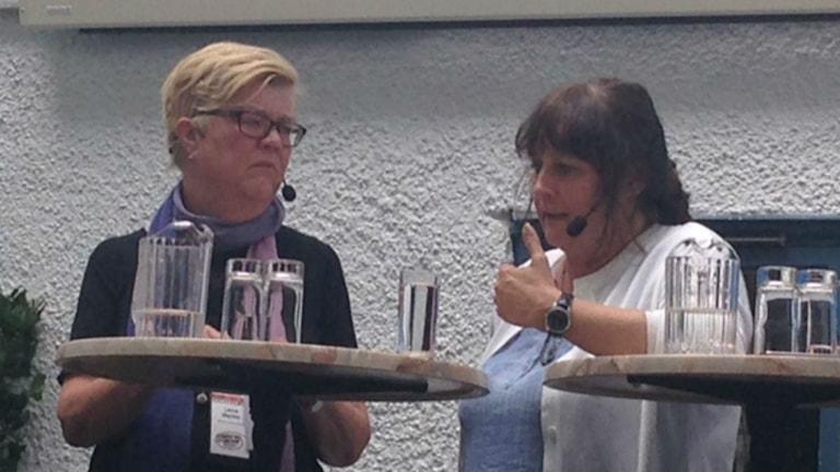 Herausgeber sorgen sich um ihr Personal - nicht jede provozierende Karikatur kann und sollte abgedruckt werden, meinen Lena Mellin, Aftonbladet, und Katrin Säfström, Nerikes Allehanda (Foto: Liv Heidbüchel/Radio Schweden)