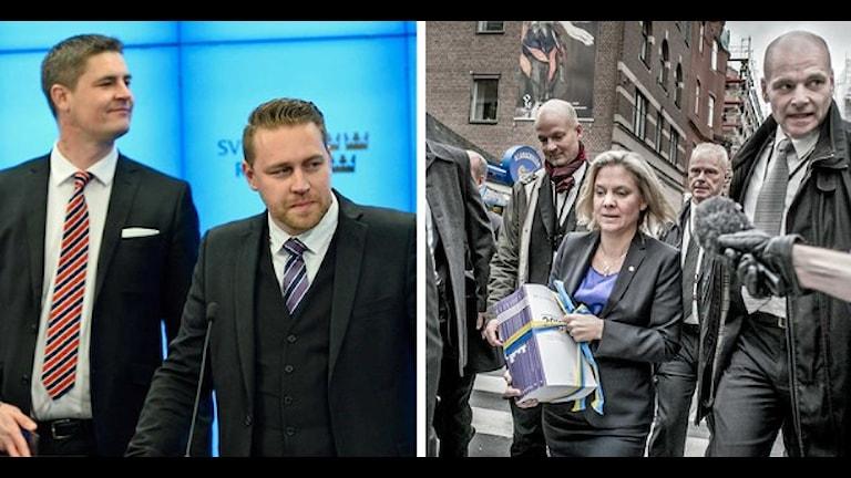 SD har möjlighet att fälla regeringens budget. Foto: Claudio Bresciani/Magnus Hjalmarson Neideman/TT.