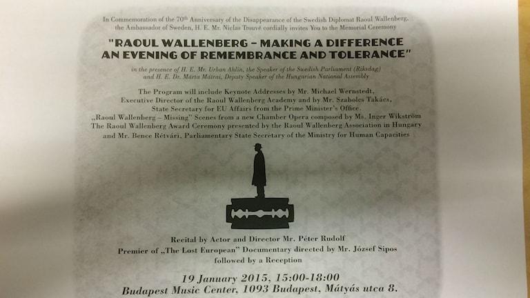 Raoul Wallenberg memoratciako djes. Foto: Peter Lindberg Radio Romano