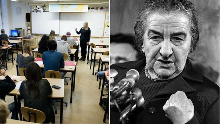 Golda Meir, en av grundarna till staten Israel, finns bara med i en av de fyra undersökta historieböckerna, enligt DN. Foto:TT/AP Photo.