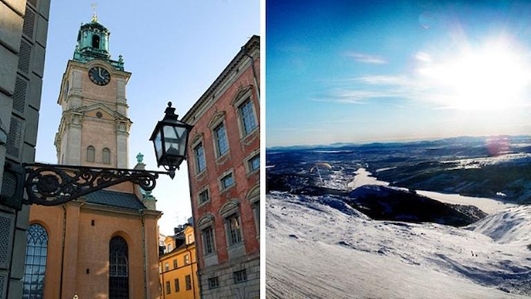 Stockholm thaj Åre si popularne thana e turistonge. Foto: Scanpix. Montage: SR.