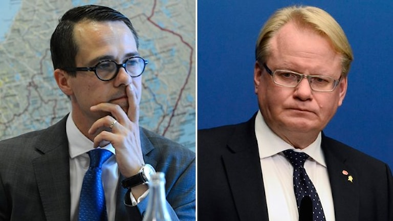 Carl Haglund, Finland's defence minister, and Peter Hultqvist, Sweden's defence minister. Photo: TT