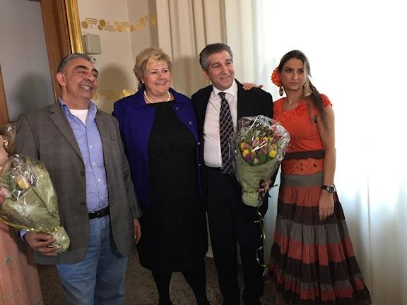 Erna Solberg manglas ertichija katar e rom ando Norvego 8-april. Foto Rikard Jansson / Radio Romano